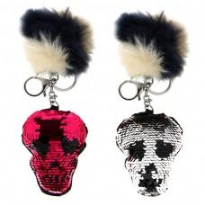 Schlüsselanhänger Skull, silber/schwarz m.Pail. 0
