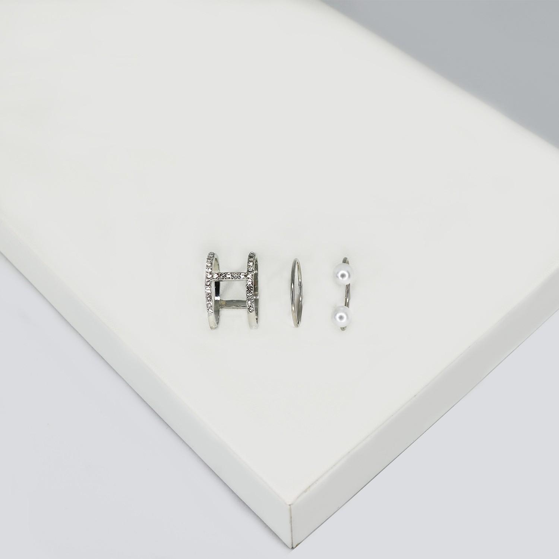 Ringset Batjah, 3 tlg., silber/cystal/pearl
