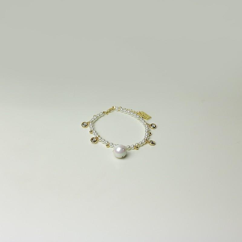 Stretcharmband Britany, gold/pearl
