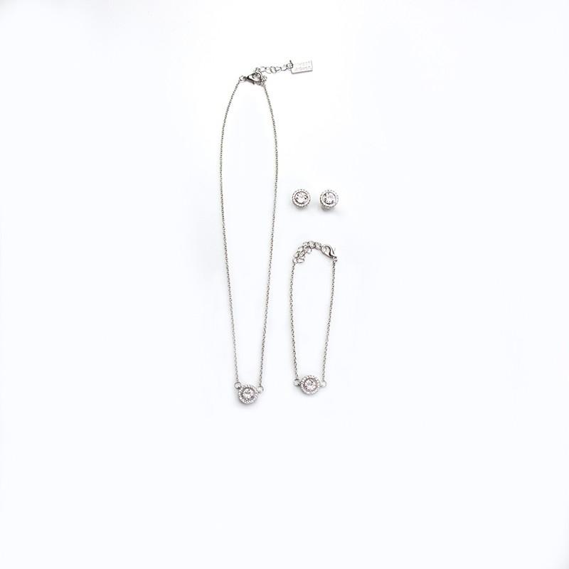 Kette,Armband,Ohr-Set Cora, silber/transparent