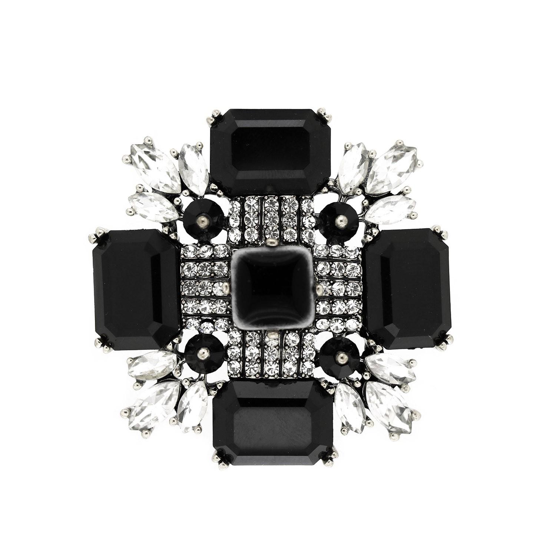 Anhänger Brosche Arieta, antiksilb crystal schwarz 0