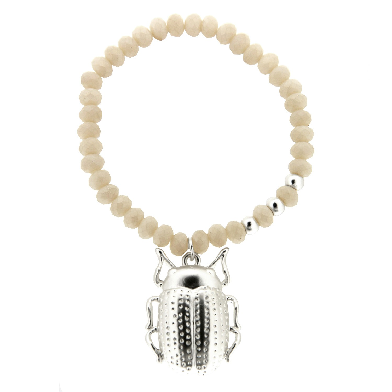 Armband Käfer big, mattsilber weiß 0