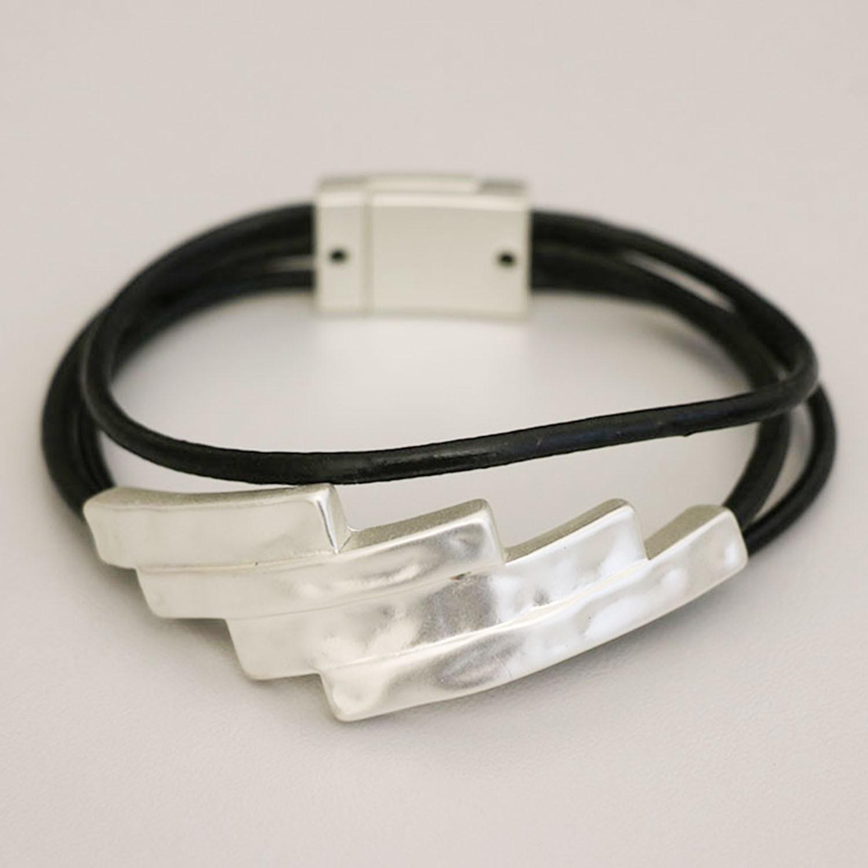 Armband mattsilber schwarz 0