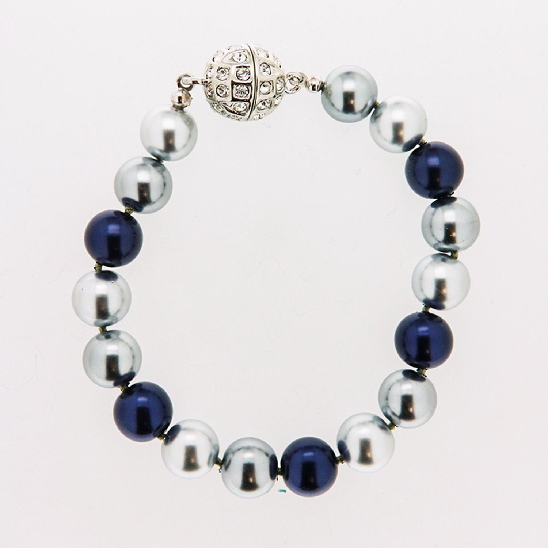 Armband Perlen, dunkelblau-grau 0