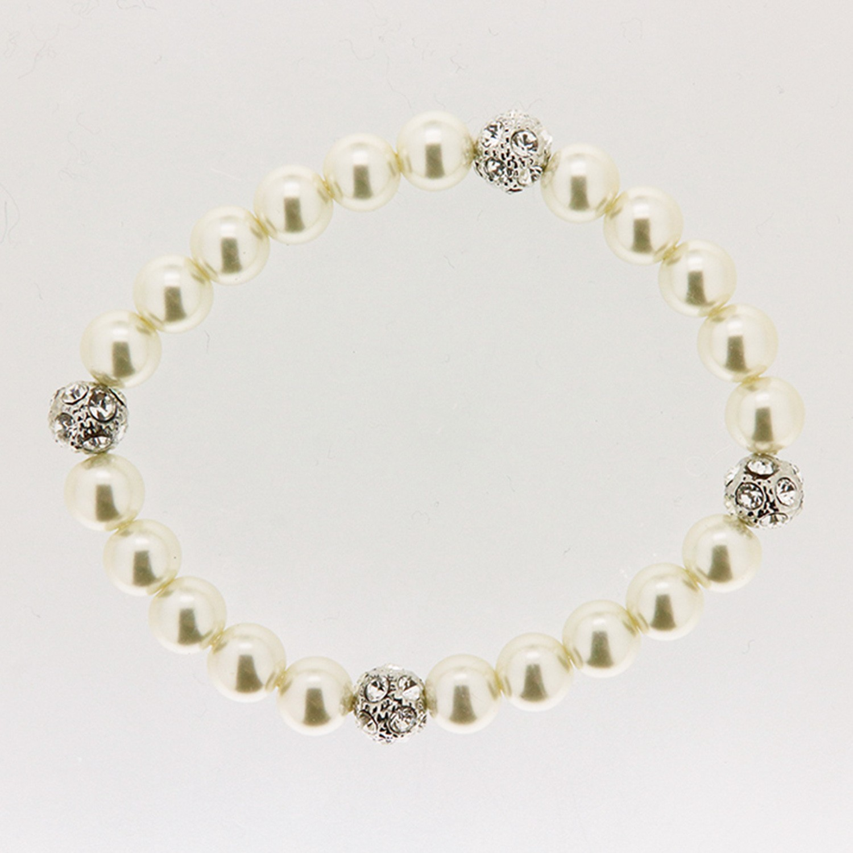 Armband Perlen, weiß-crystal 0