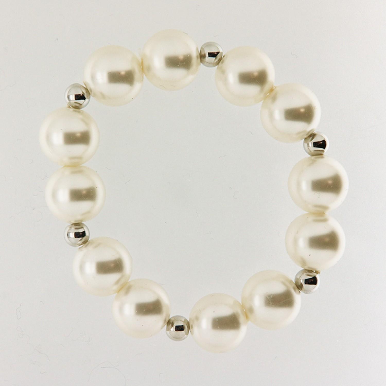 Armband Perlen, weiß-silber 0