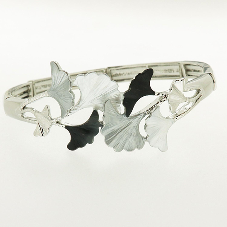 Armband, silber mattsilber grau schwarz 0