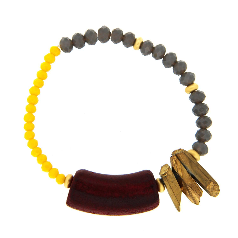 Armband Tetja, gelb grau rot 0