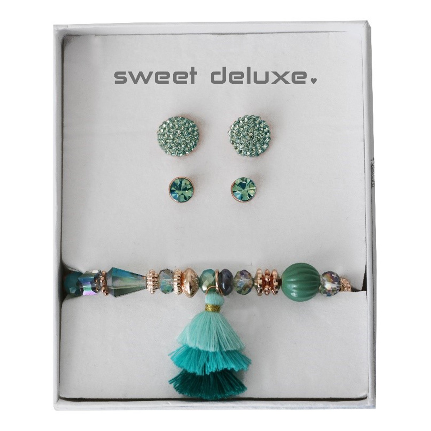 Box 2 earrings, 1 Blet summer teal 0