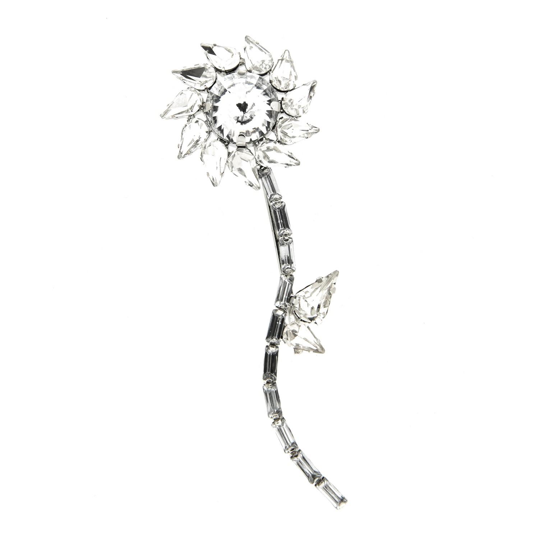 Brosche Klammer Flower, silber crystal 0