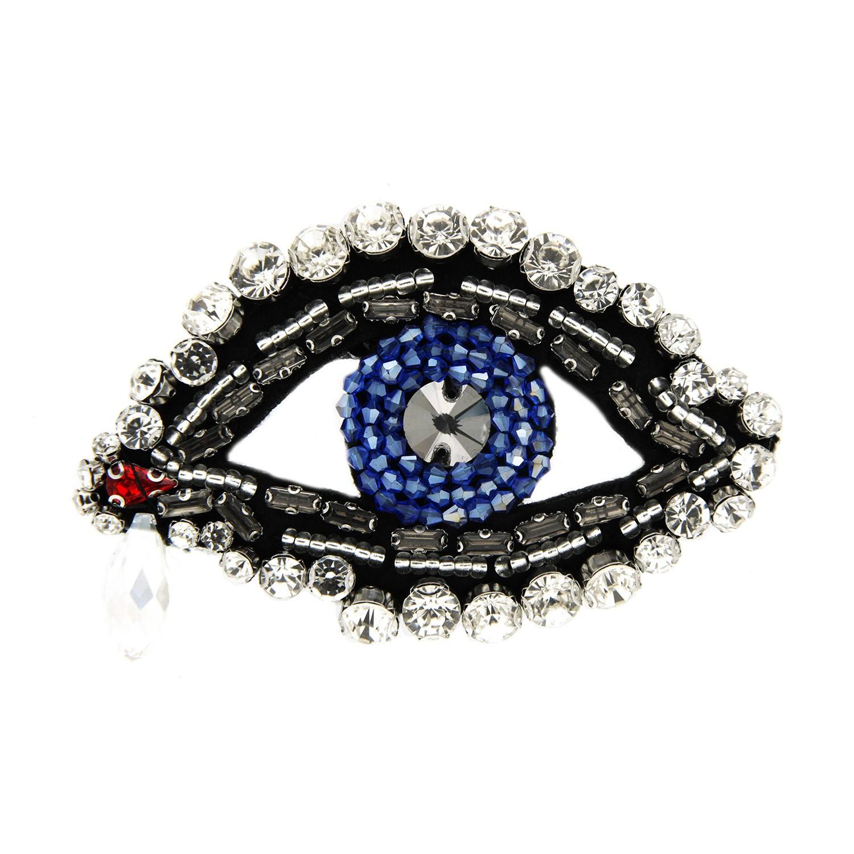 Brosche Auge, schwarz crystal blau 0