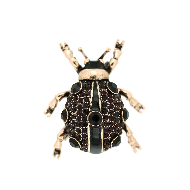 Brosche Käfer, antikgold schwarz 0