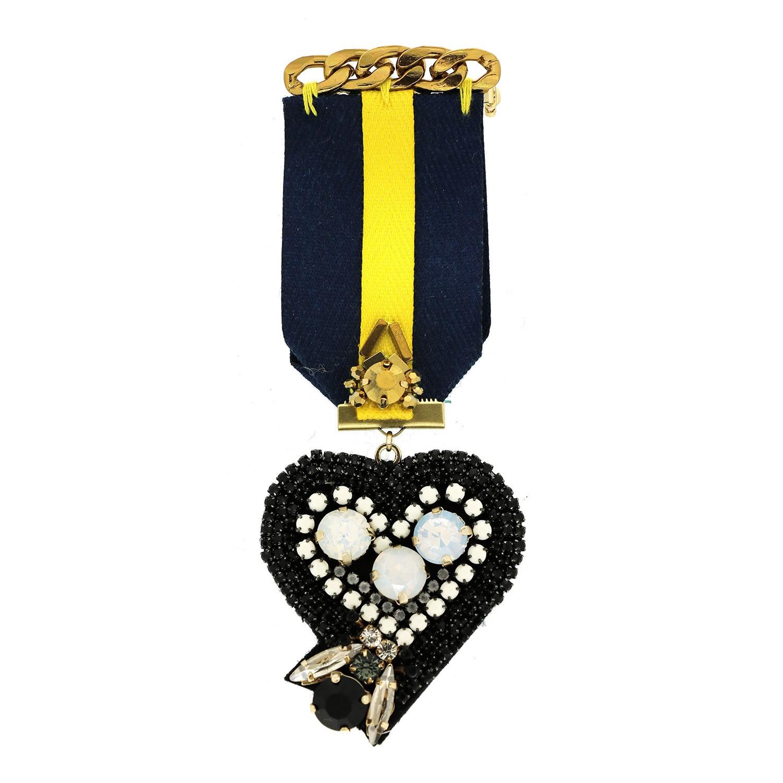 Brosche Rubina Heart, blau weiß schwarz 0