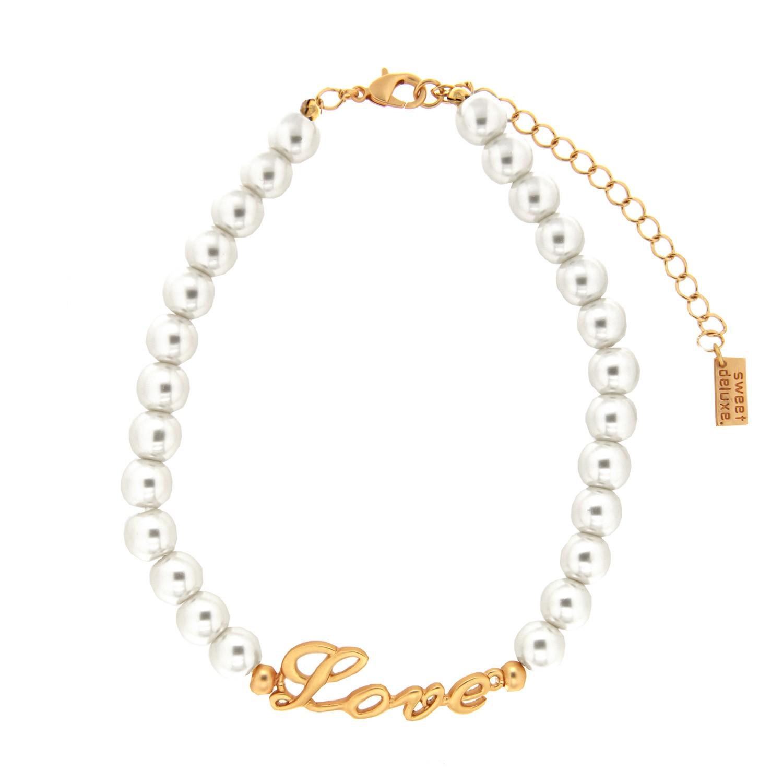 Choker Love, mattgold pearl 0