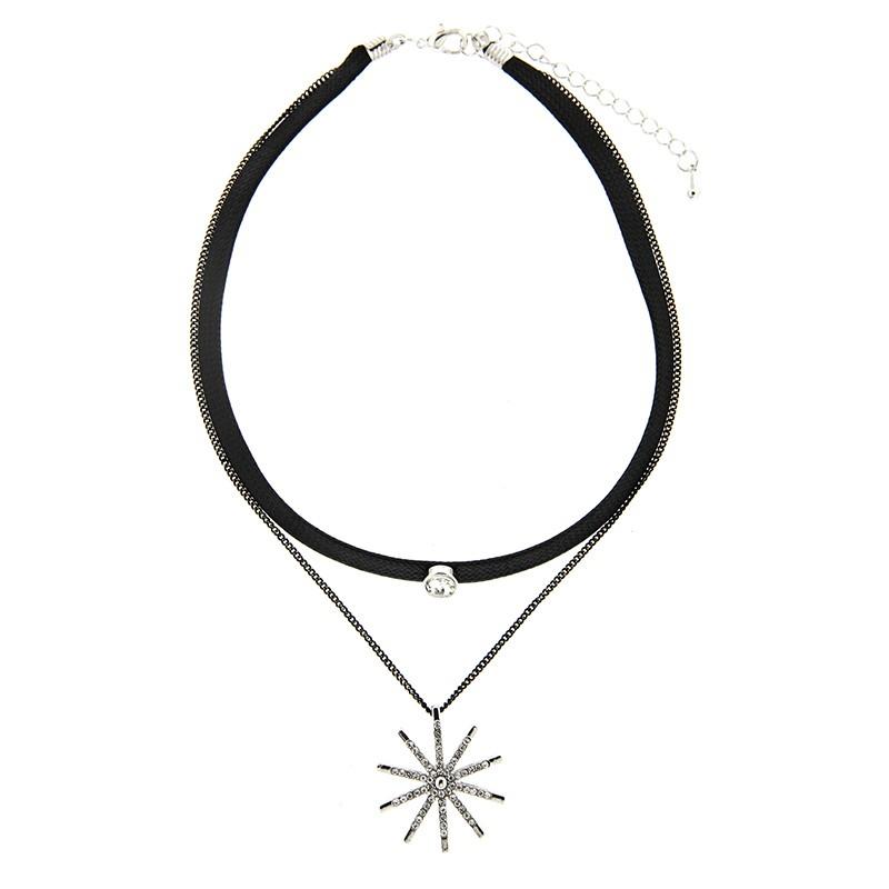Choker Sun, schwarz silber crystal 0