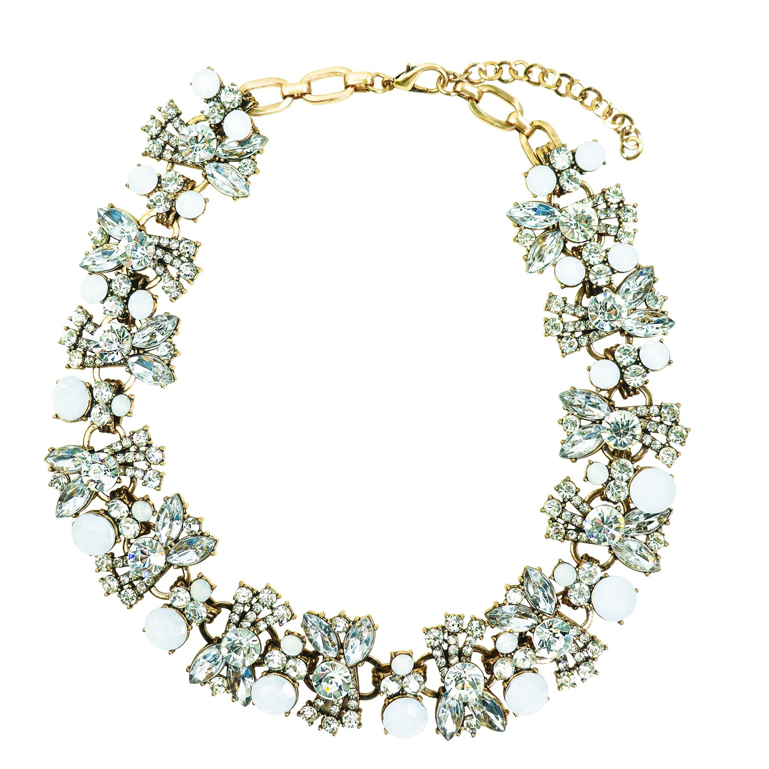 Collier Rois, antikgold crystal weiß 0