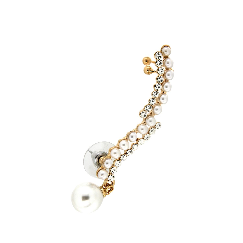 Ear Cuff Shona, gold crystal pearl 0