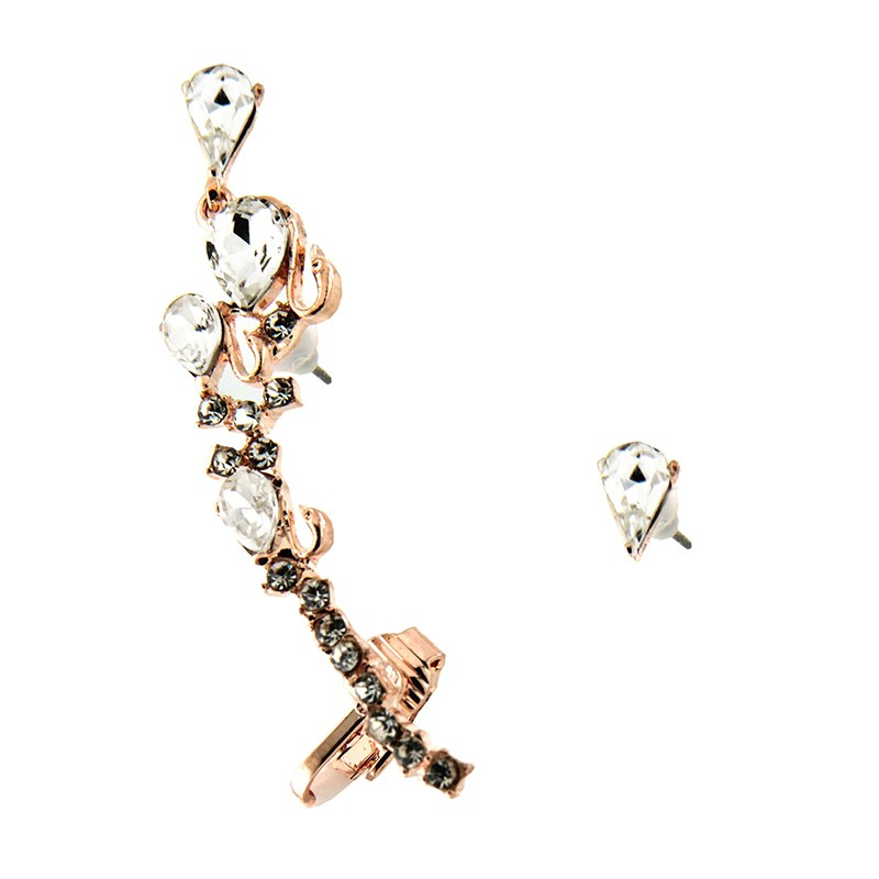 Ear cuff, rosegold/crystal 0