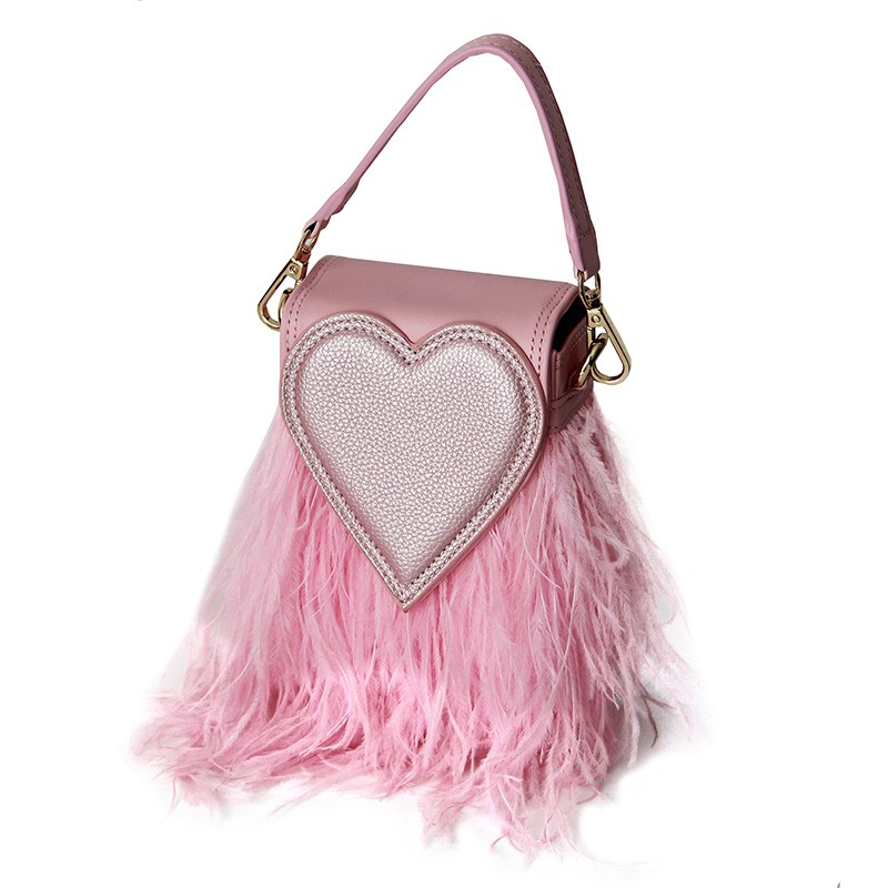 Tasche Heart on fur, rose 0