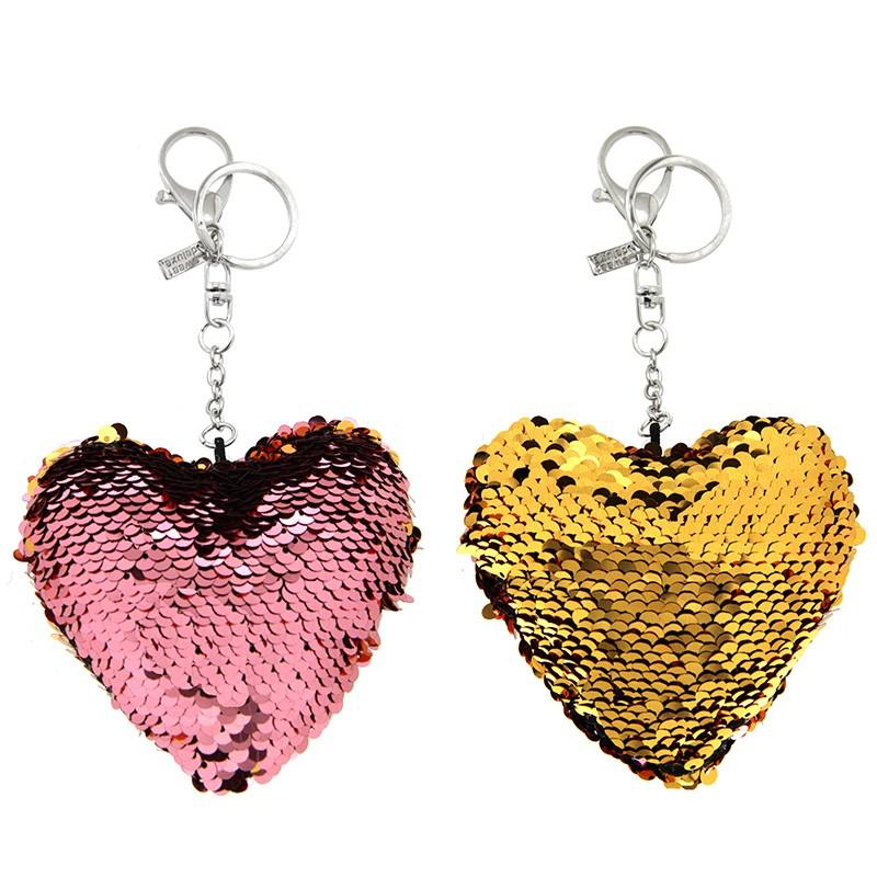 Schlüsselanhänger Herz, silber/purple/gold 0