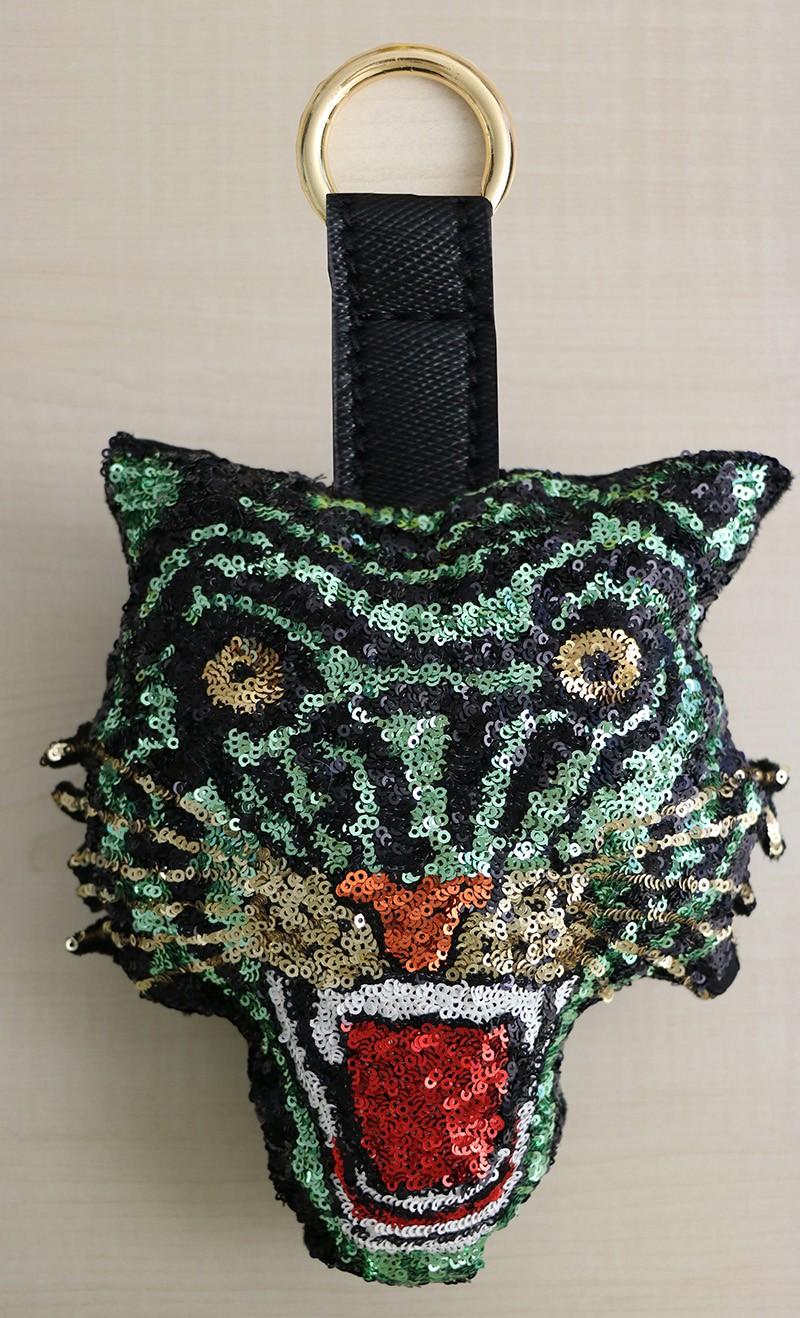 Schlüsselanhänger Tiger, schwarz/grün/gold/multi 0