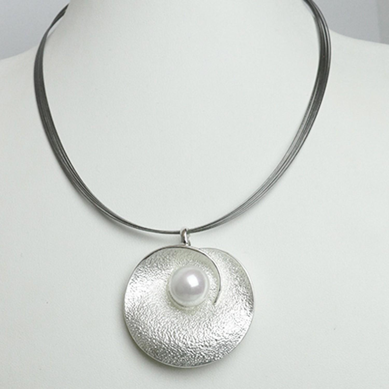 Kette Collier, mattsilber Perle 0
