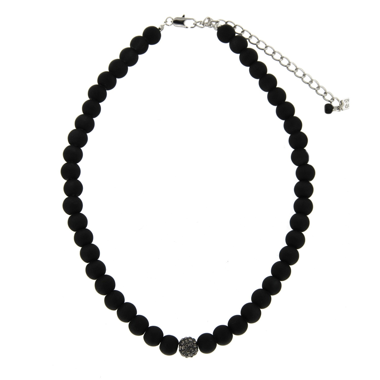 Kette elegant pearl, silber mattschwarz bl.diamond 0