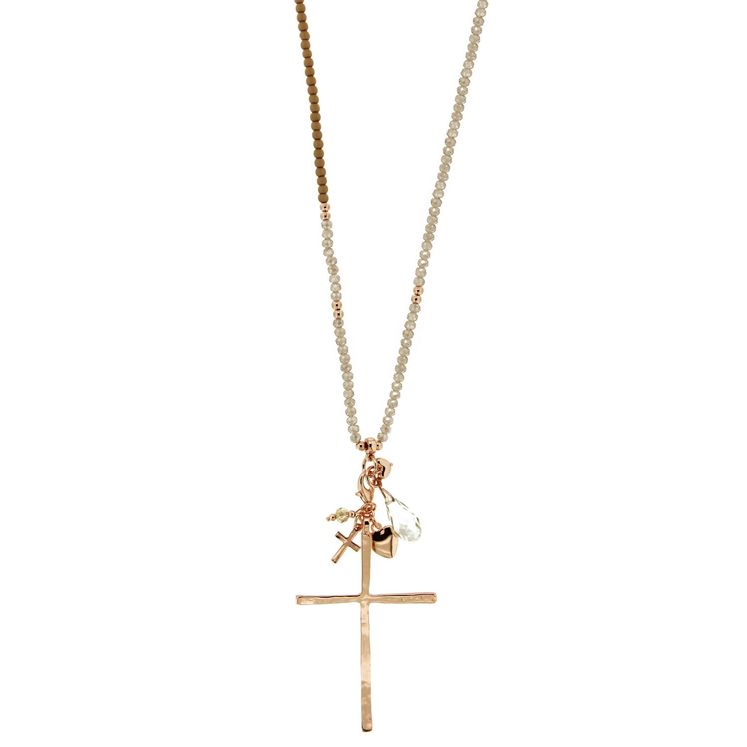 Kette Heart & Cross, rosegold taupe 0