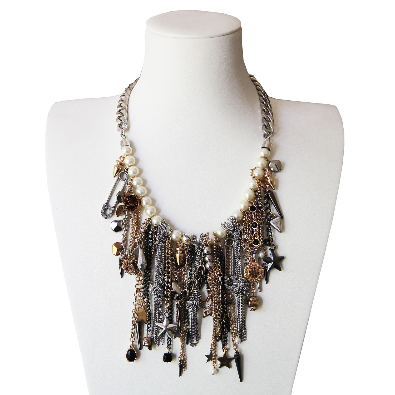 Kette Marilu, antiksilber pearl schwarz gold 0