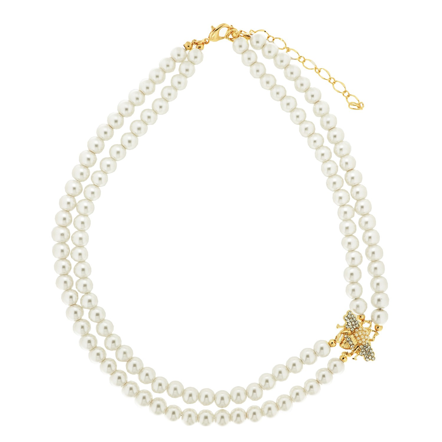 Kette Pearls and Bee,  gold crystal Perle 0
