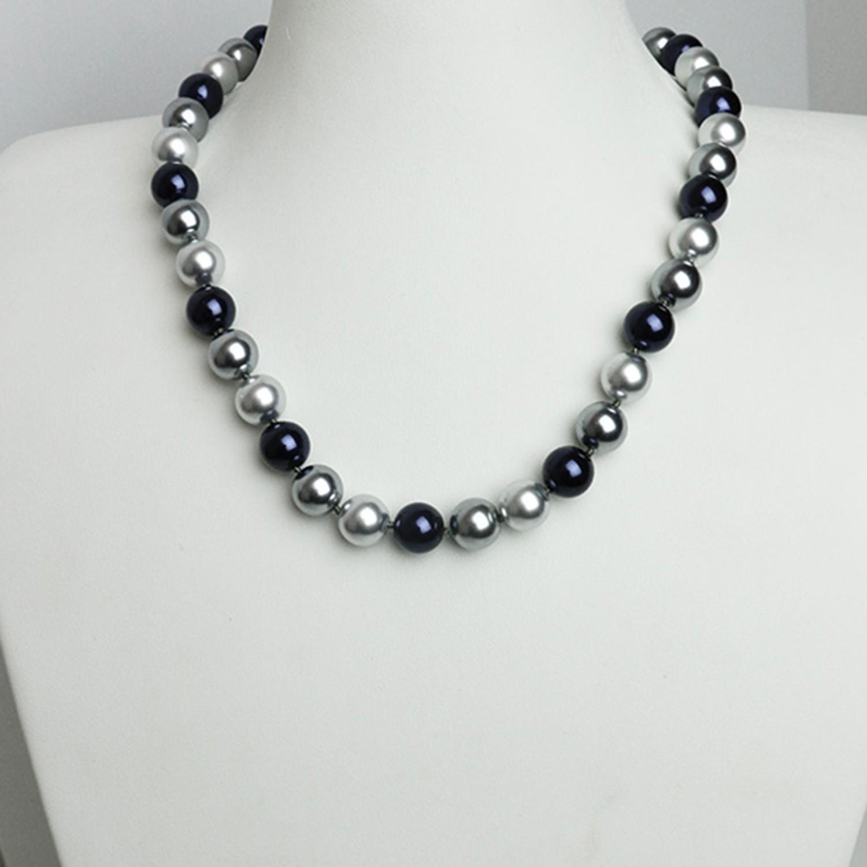 Kette Perlen, dunkelblau-grau 0