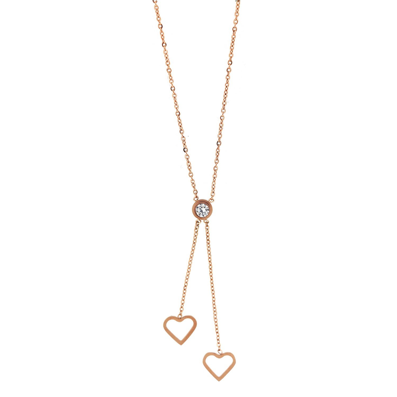 Kette Two Hearts, rosegold crystal 0