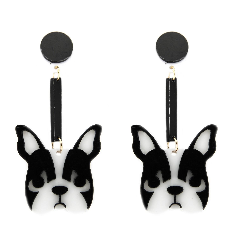 Ohrring  Dog long, silber schwarz weiß 0