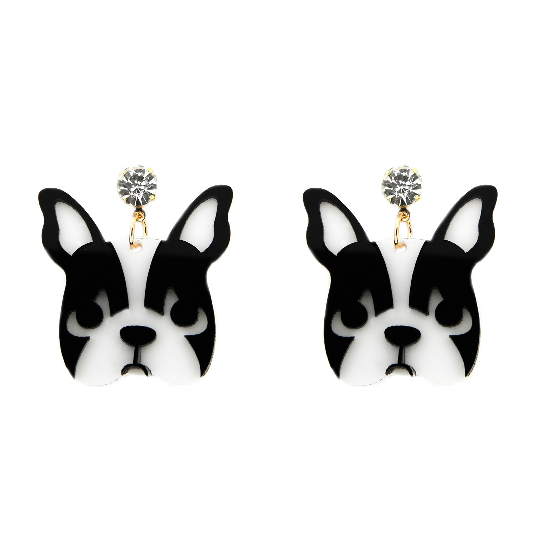 Ohrring Dog short, schwarz weiß crystal 0