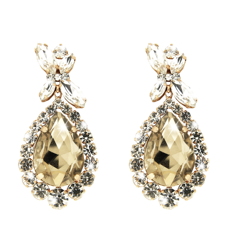 Ohrringe Princess Style, mattgold li.topaz crystal 0