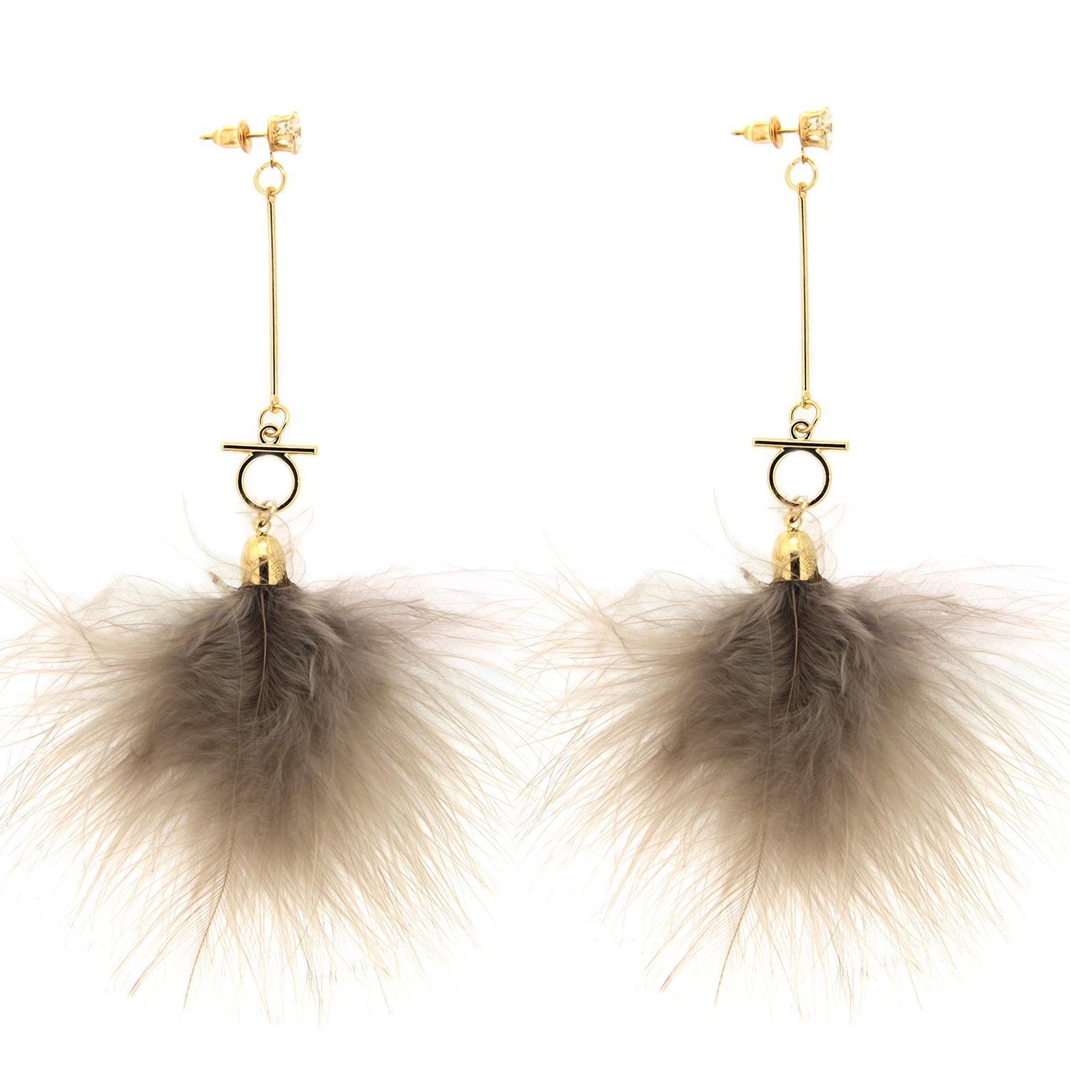Ohrring Fur, gold crystal grau 0
