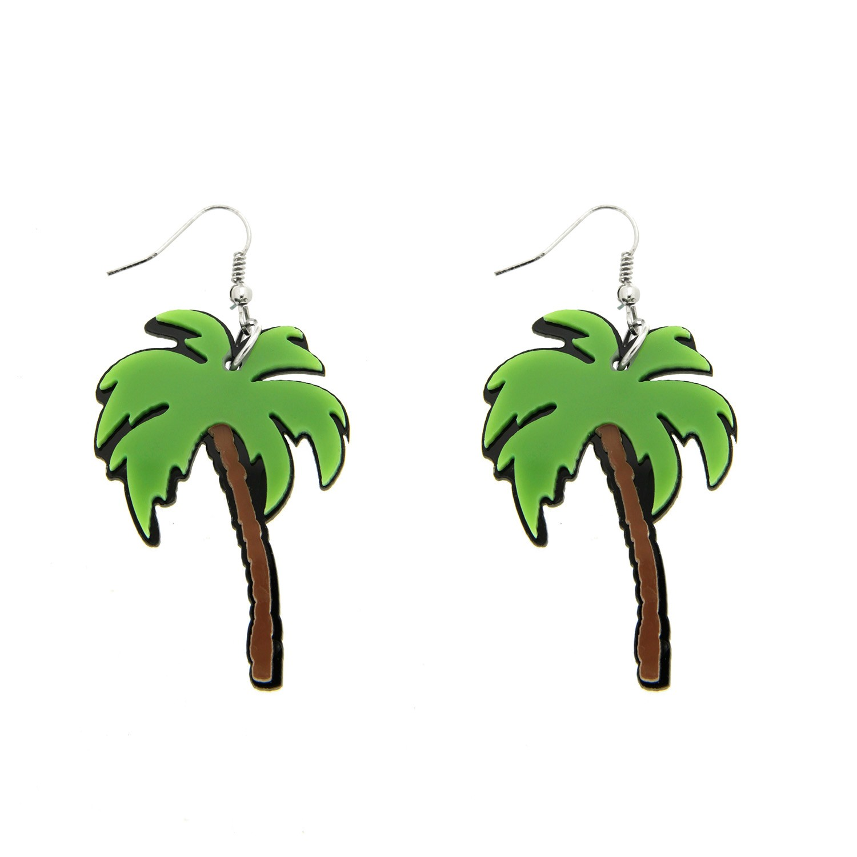 Ohrring Palmen, grün braun silber 0