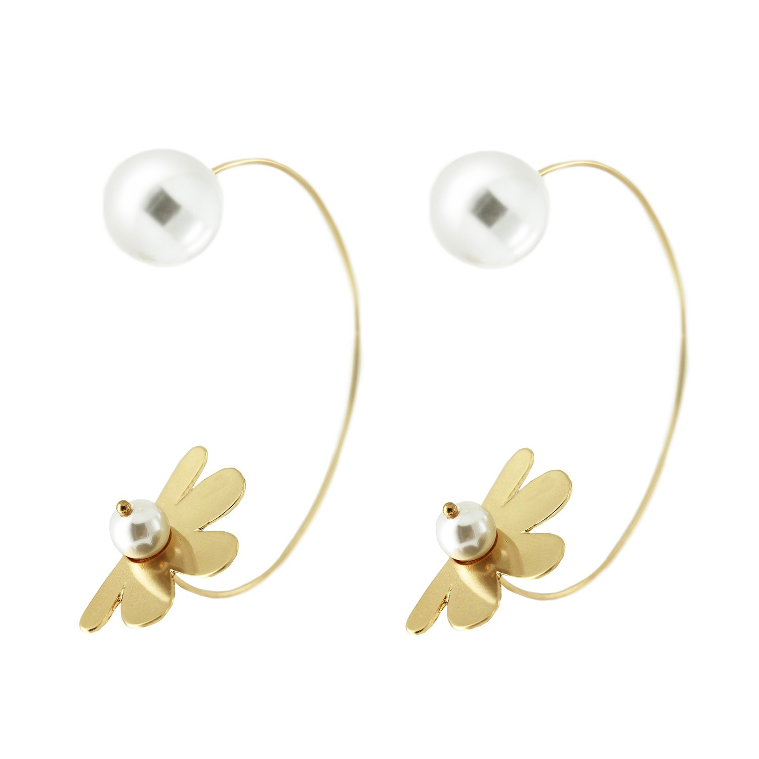 Ohrring Pearl and flower, gold Perle 0