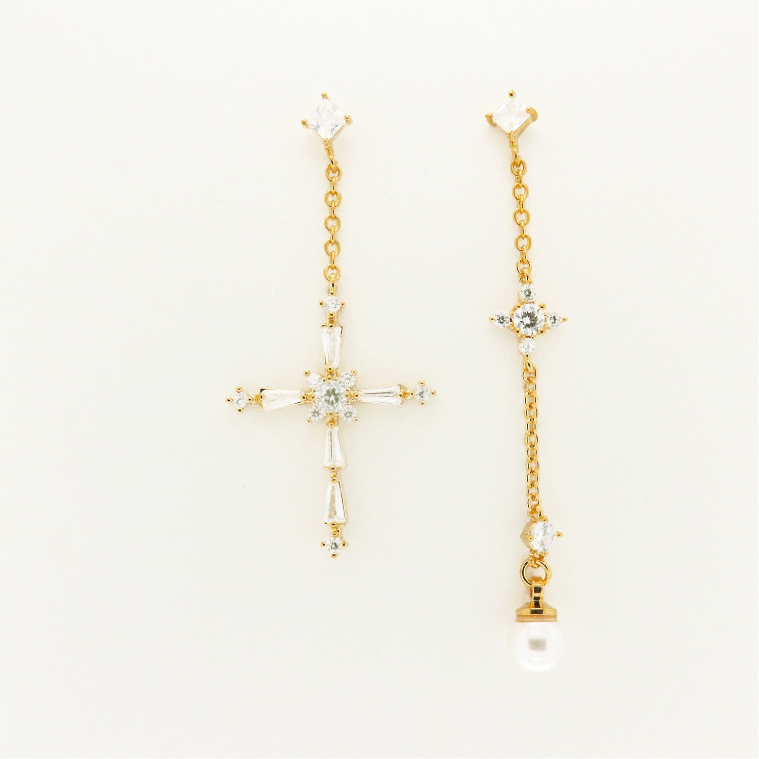 Ohrschmuck Cross and Pearl, gold crystal 0
