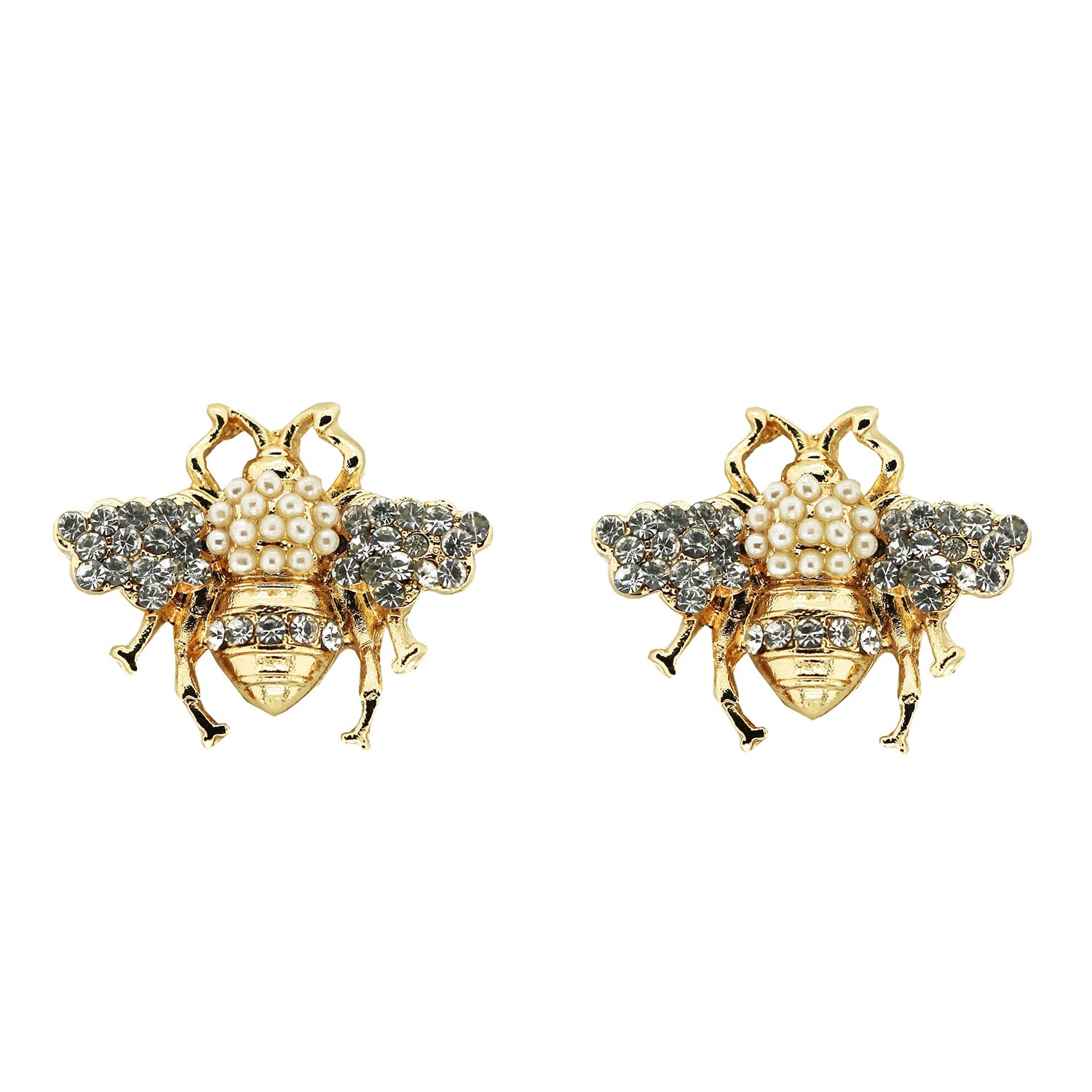 Ohrschmuck Pearls and Bee, gold crystal pearl 0