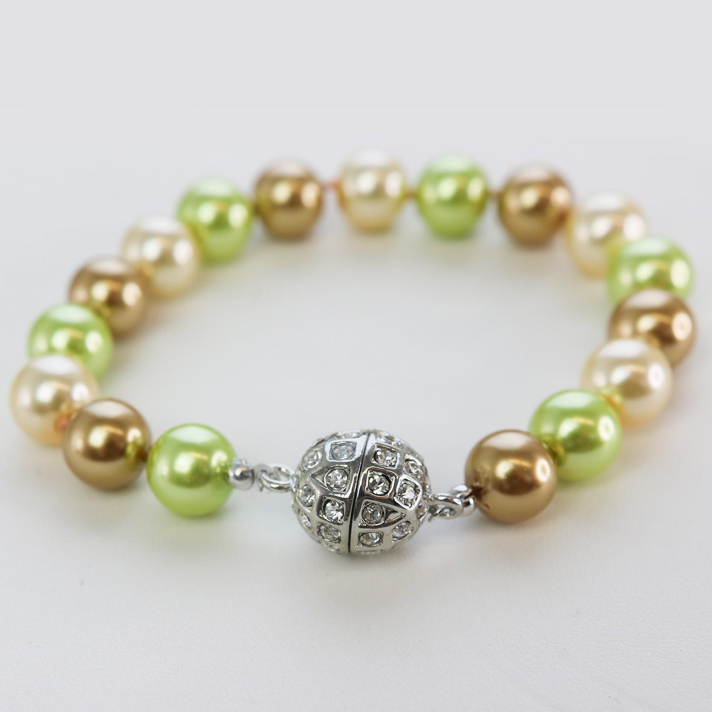 Perlenarmband Magnetverschl.,grün mix 0