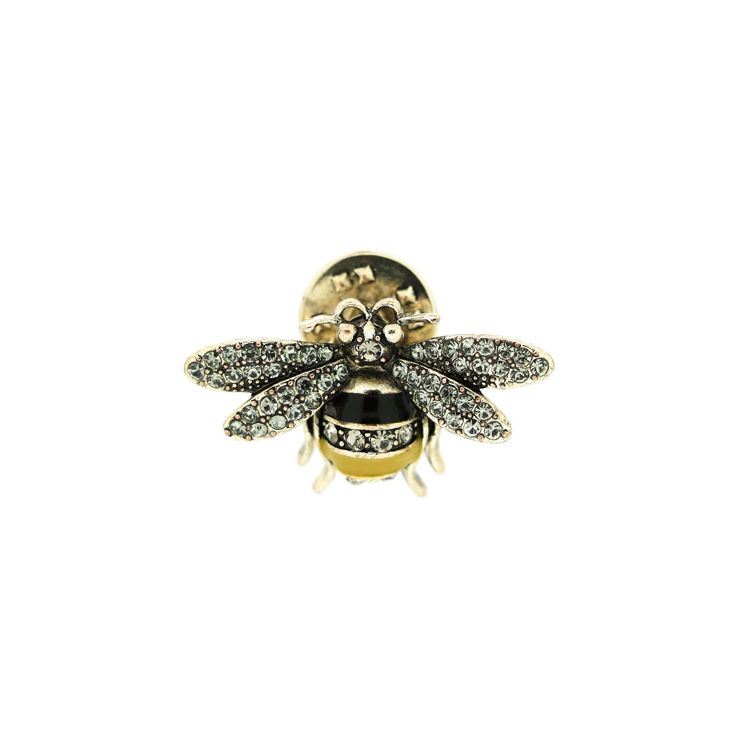 Pin Little Bee, antiksilber crystal gelb schwarz 0