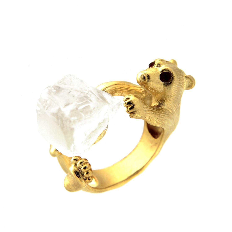 Ring Bär, mattgold/crystal