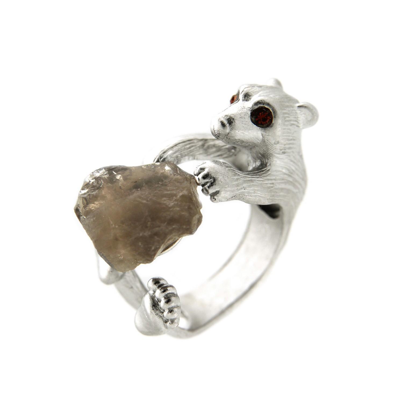 Ring Bär, mattsilber/dkl. topaz