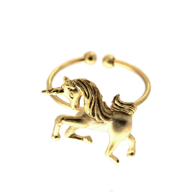 Ring Einhorn, mattgold 0