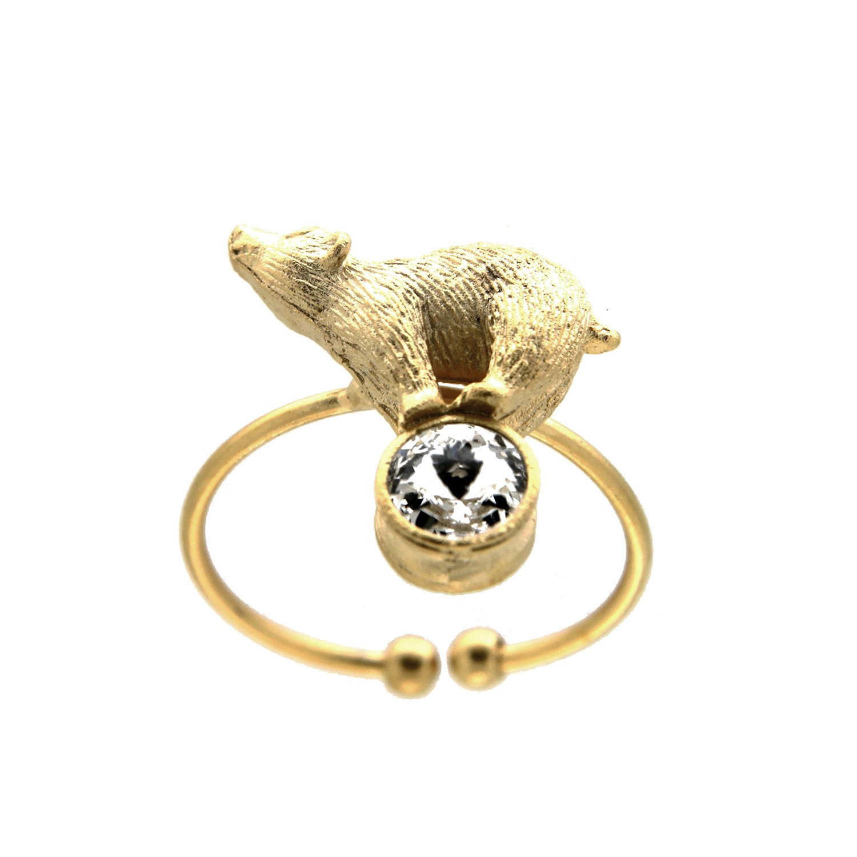Ring Eisbär, mattgold crystal 0
