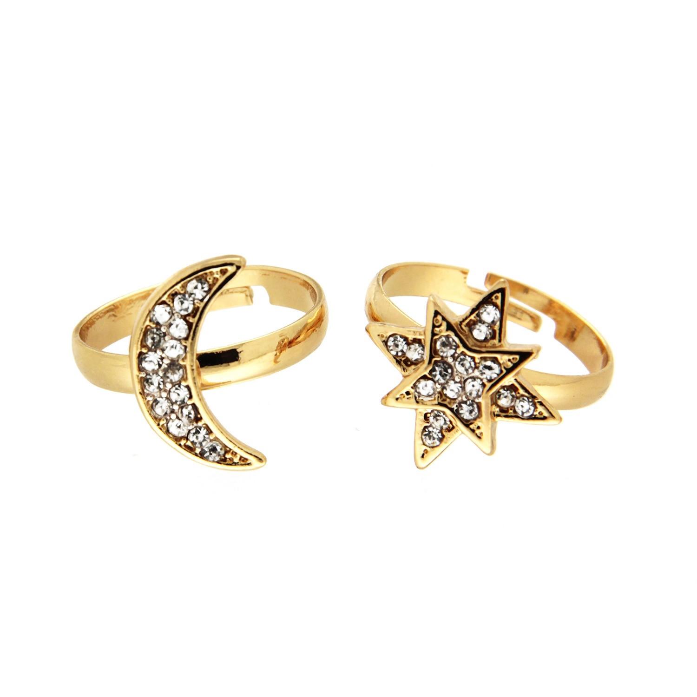 Ring Set Mond + Stern, gold crystal 0
