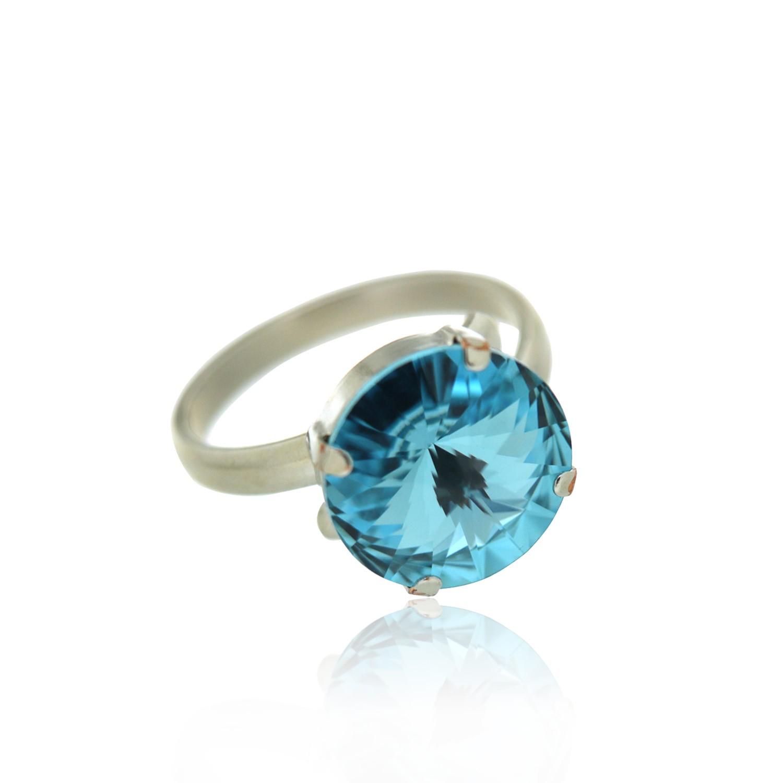 Ring Stein, silber hellblau 0