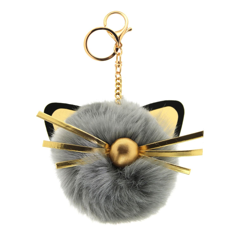 Schlüsselanhänger Cat head, gold grau schwarz 0