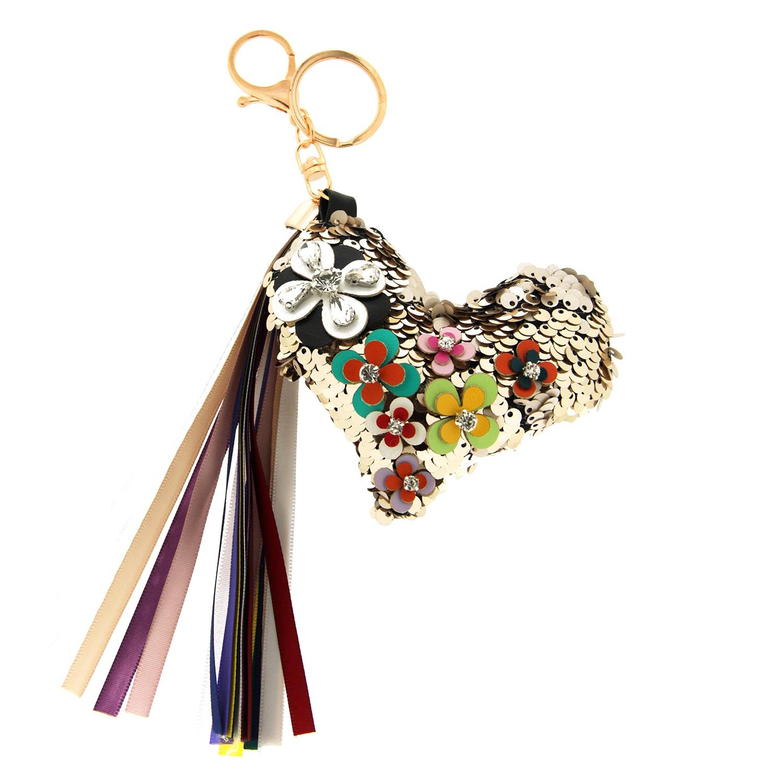 Schlüsselanhänger Flowerheart, gold/mix